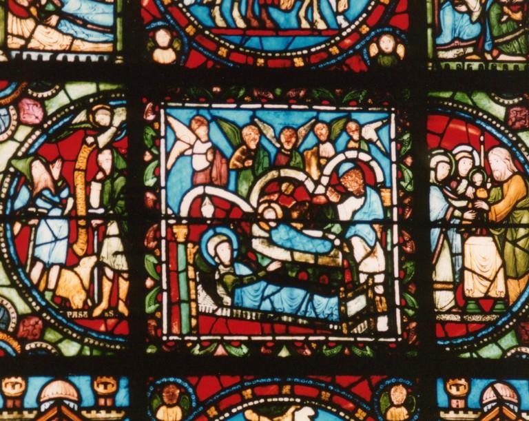 Detail in Nativity Scene Vitrail at Basilica of Saint Denis, Paris