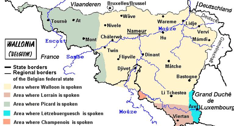 Linguistic map of Wallonia | © Srtxg/WikiCommons