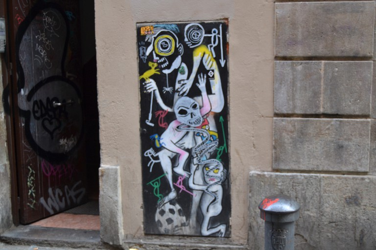 A Francisco de Pájaro drawing in the Raval| Photo by Alison Moss