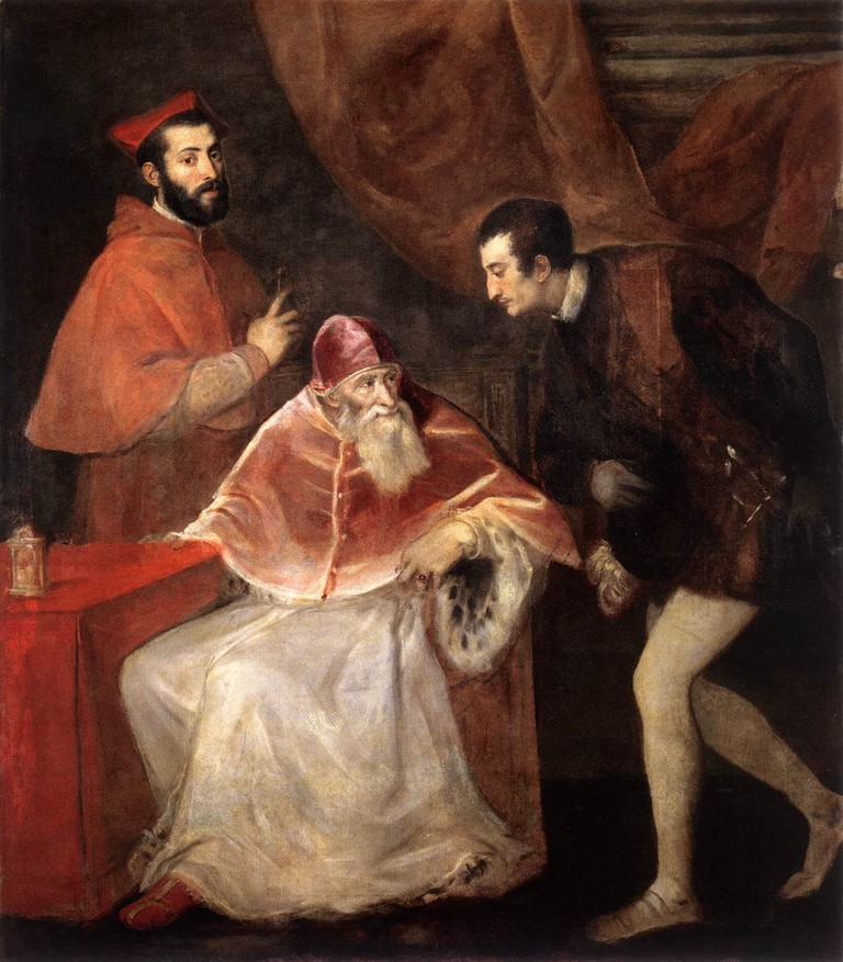 Titian, Pope Paul III and His Grandsons, Oil on canvas, 210 x 174 cm, Museo di Capodimonte, Naples, 1546 | © Armbrust/WikiCommons