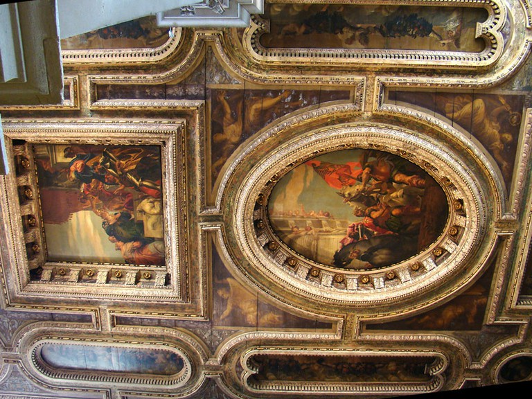 San Sebastiano, Venice – Coffered ceiling with canvases by Veronese