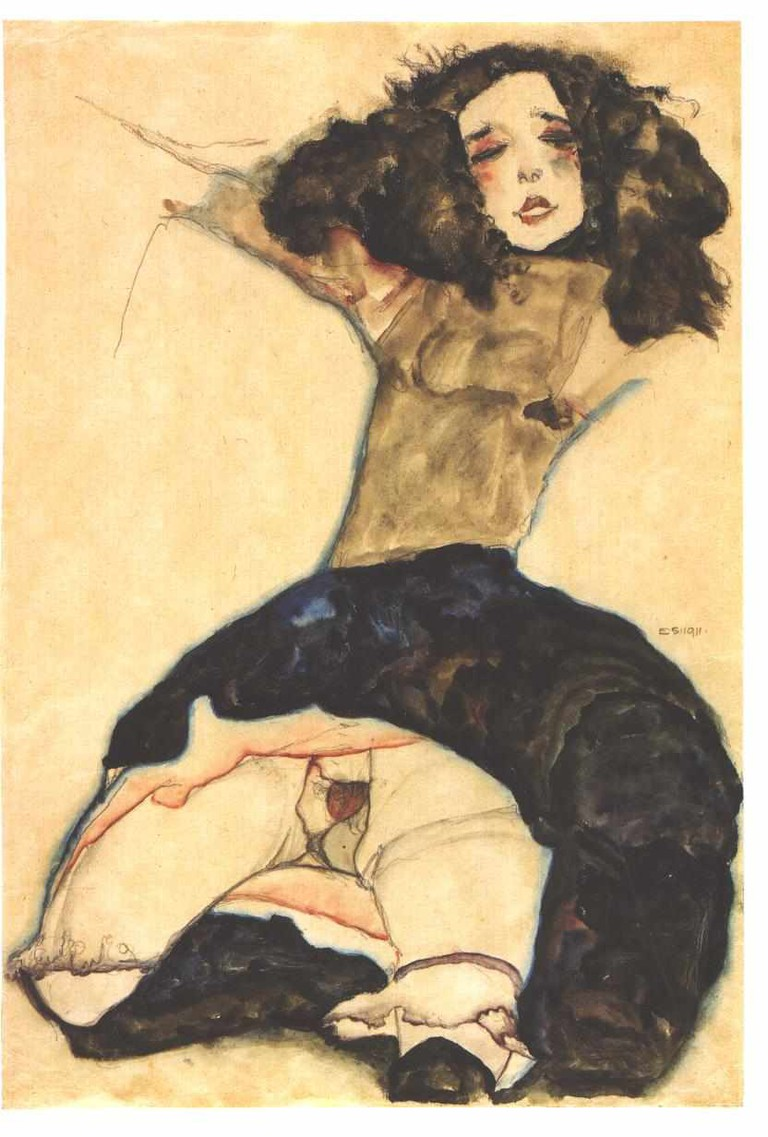 Egon Schiele, Black-haired Girl with High Skirt, 1911