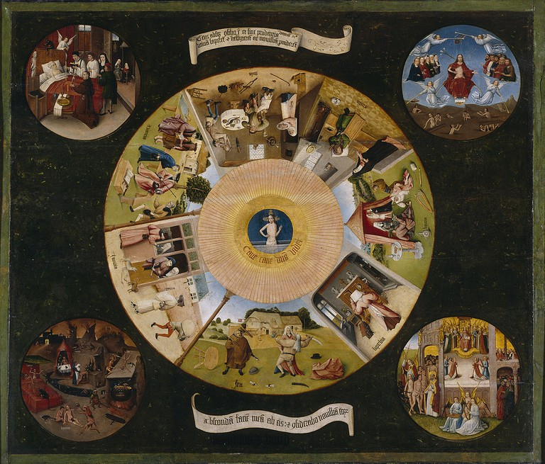 Hieronymus Bosch, Table of the Seven Deadly Sins, oil on poplar panel, 120 x 150 cm, Museo del Prado, Madrid, c. 1450-1516 | © Crisco 1492/WikiCommons
