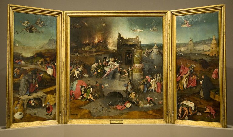 Hieronymus Bosch, Temptations of St. Anthony, oil on oak, 131.5 x 119 cm (central panel), 131.5 x 53 cm (side panels), Museu Nacional de Arte Antiga, Lisbon, c. 1500 | © Paul Hermans/WikiCommons