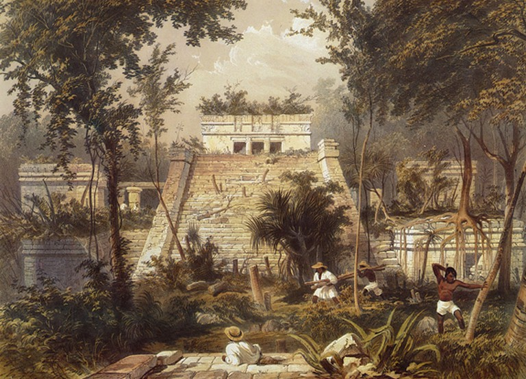A Maya pyramid being excavated