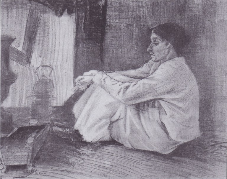 Vincent Van Gogh, Sien with a Cigarette, Sitting on the Floor Beside the Fireplace, Pencil, black chalk, pen and brush, 1882
