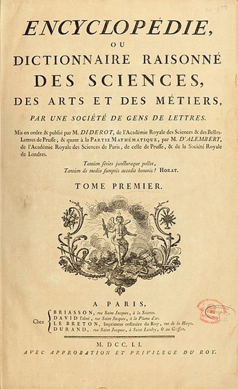 Cover of the Encyclopedia by Denis Diderot | © WikiCommons