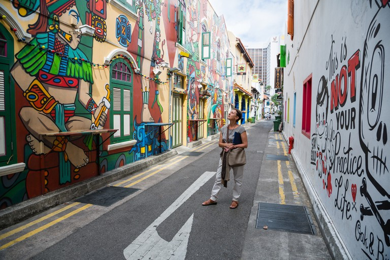 Graffiti on the walls of old buildings Haji Lane