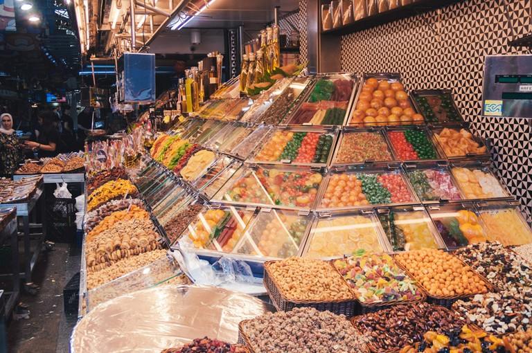 Delicacies on sale at La Boqueria