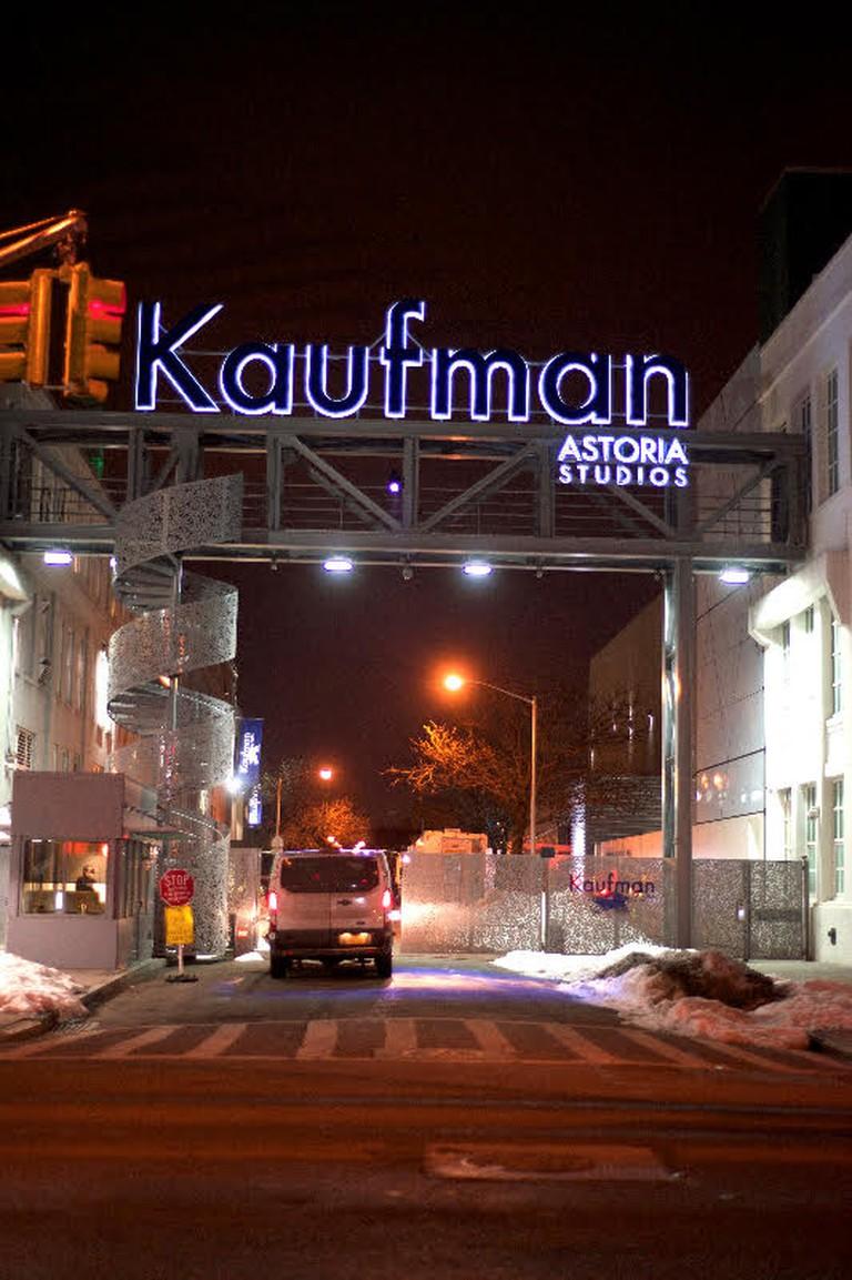 A night shot of Kaufman Astoria Studios | © Smart Scott Photography