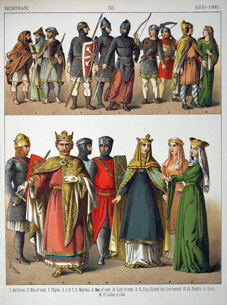 Victorian interpretation of the Normans' national dress, 1000–1100 | © Ultimate Destiny/WikiCommons