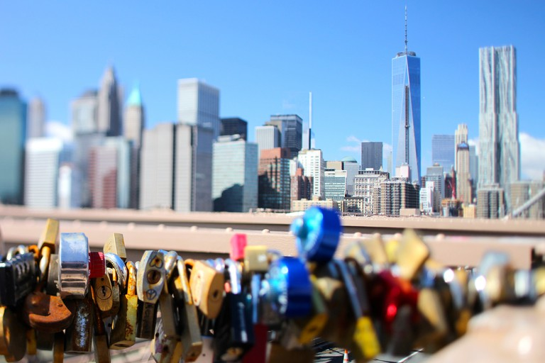 Locks and Skyline, Brooklyn Bridge on a Bright Day, NYC   © Daniel X. O'Neil/Flickr