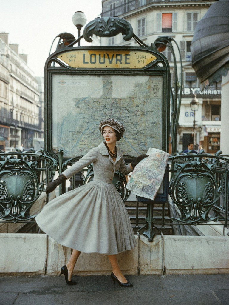 """Model in Dior by Mark Shaw in Paris in 1957 for LIFE magazine's September article """"A Bright Young Look in Paris"""""""
