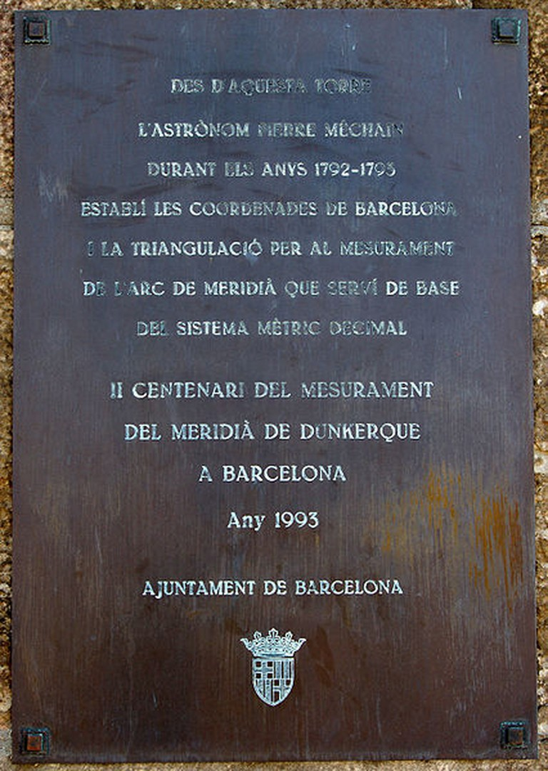 Commemorative plaque at Montjuïc