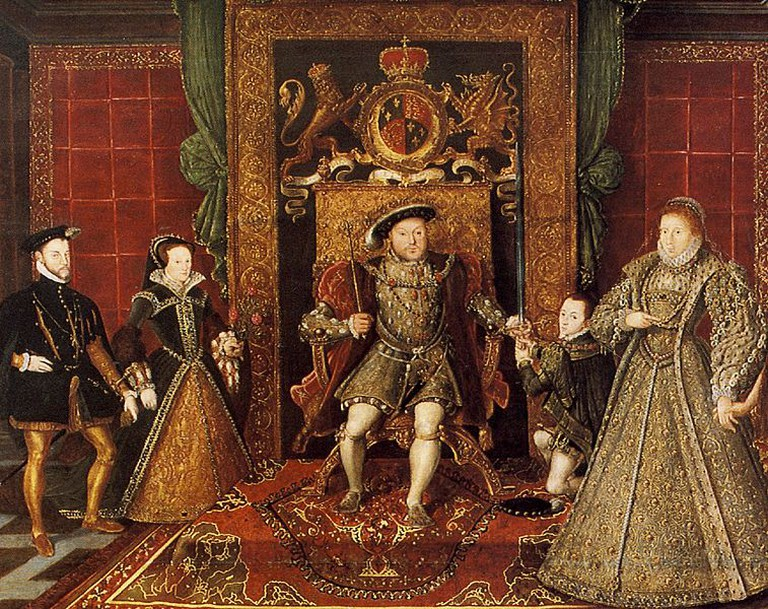 From Left to Right: Mary I & Philip II of Spain (husband and co-regent), Henry VIII, Edward VI, and Elizabeth I