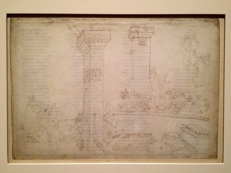 Botticelli, Inferno VIII - Text from the reverse of the page is visible under the drawings   © A.Winners