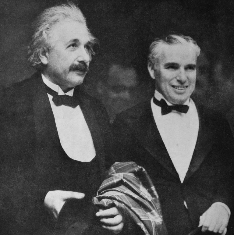 Chaplin and Albert Einstein at the CityLights premiere © Photoplay