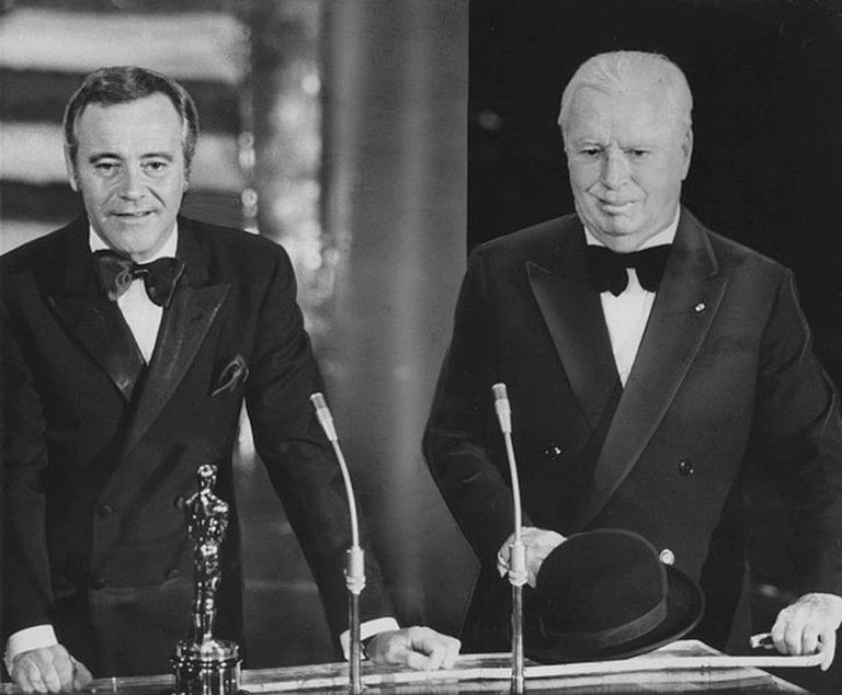 Charlie Chaplin receiving an Honorary Academy Award from Jack Lemmon © Associated Press Photographer