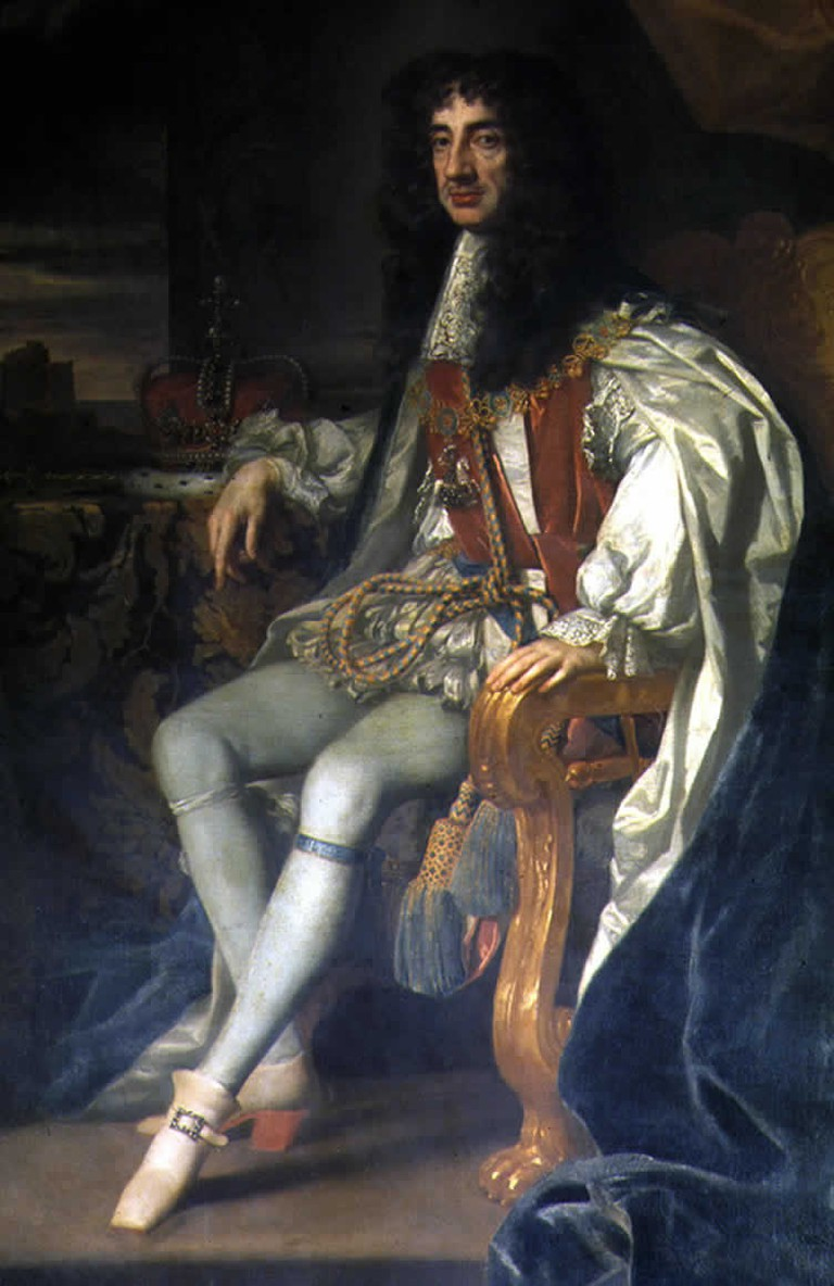 King Charles II, the first monarch to rule after the English Restoration