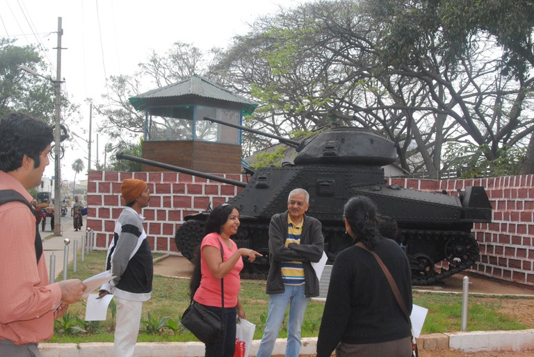 Walkers look at one of the WWII tanks brought back from Africa by MEG.