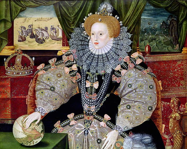 Portrait of Elizabeth to commemorate the defeat of the Spanish Armada (1588), depicted in the background. Elizabeth's hand rests on the globe, symbolising her international power