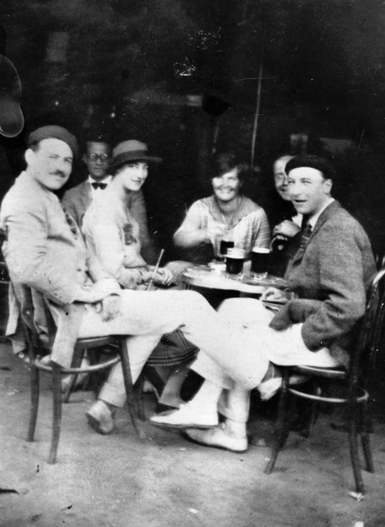 Ernest Hemingway with friends in Paris, 1925