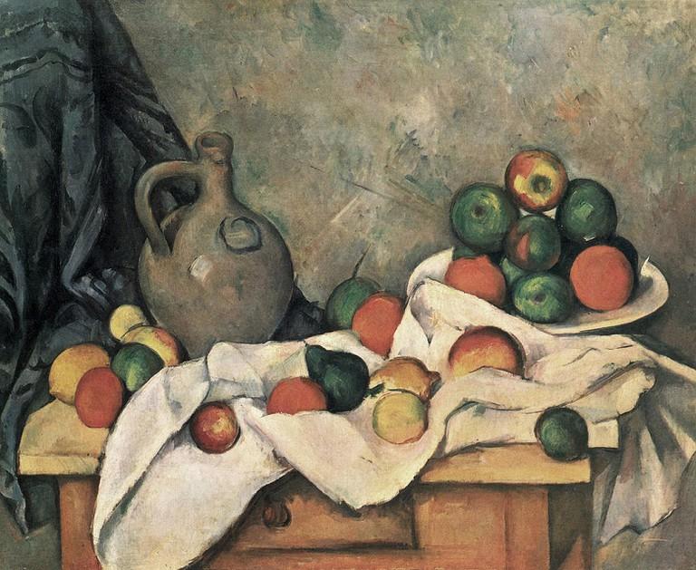 Cezanne, Jug, Curtain and Fruit Bowl via Wikimedia Commons