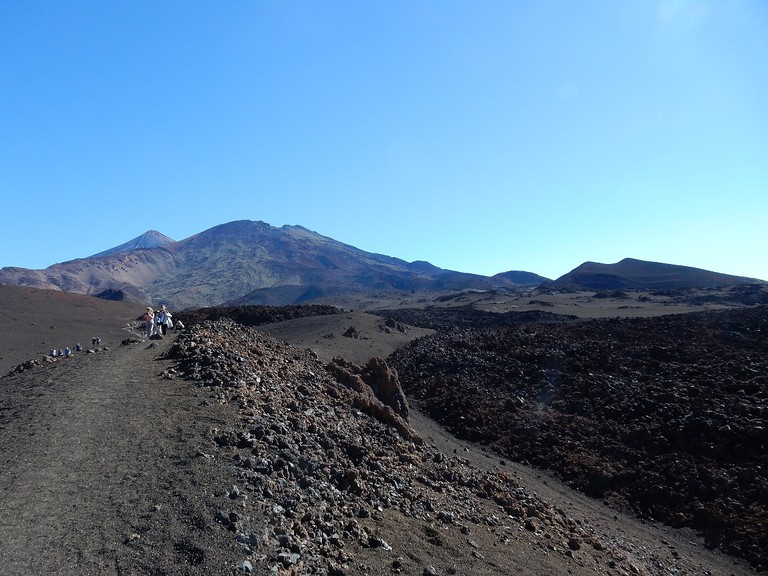 Lava flows with Mount Teide in the background