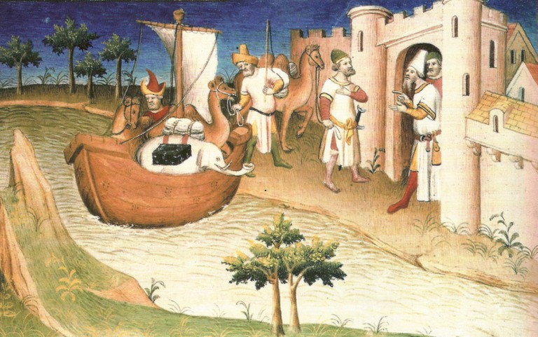 A miniature of Marco Polo travelling from a later edition of Il Milione | © WikiCommons