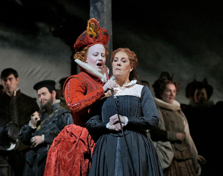 Elza van den Heever as Elisabetta and Sondra Radvanovsky in the title role of Donizetti's 'Maria Stuarda'