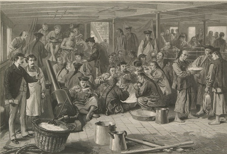 "Chinese emigration to America: Sketch on board the steam-ship Alaska, bound for San Francisco. From ""Views of Chinese"" published in The Graphic and Harper's Weekly. April 29, 1876. @ The Graphic/Harpers Weekly/Public Domain"