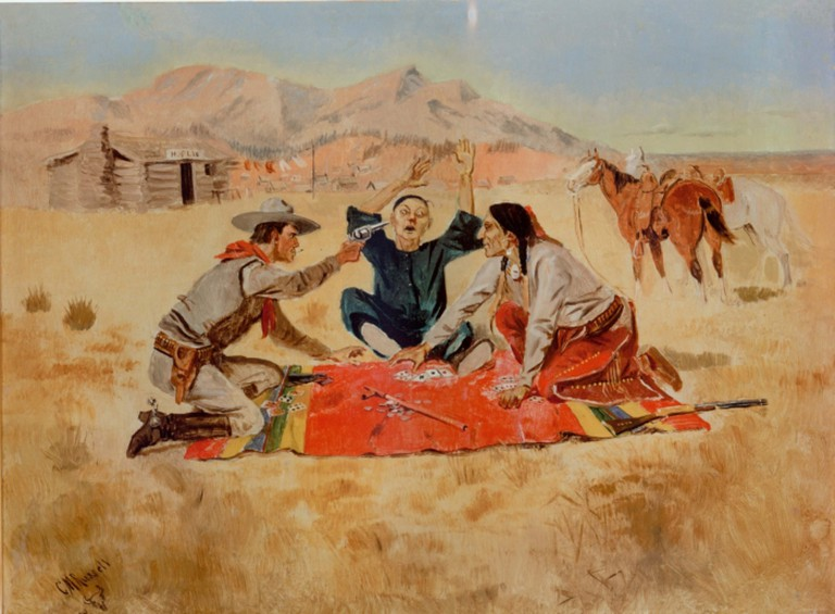 "Not a Chinaman's Chance,"" oil on panel, by the American artist Charles Marion Russell @ Yale University/Public Domain."