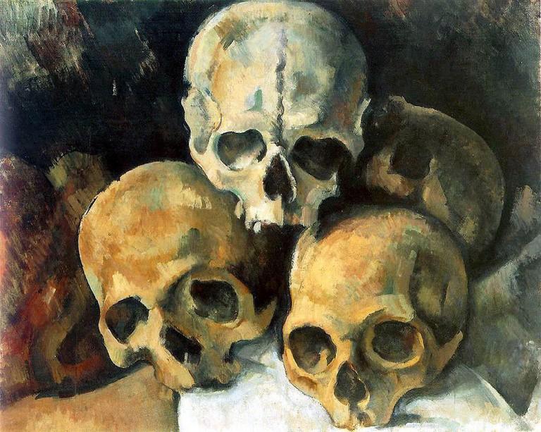 Cezanne, Pyramid of Skulls via Wikimedia Commons