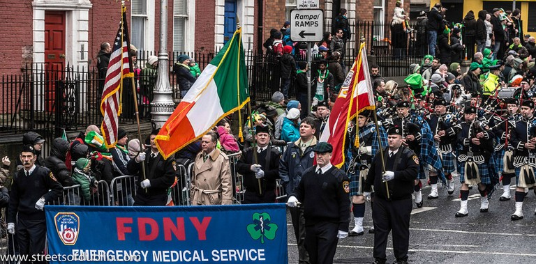 The FDNY EMS Pipes and Drums Band Took Part In The New York Parade On Sunday And Then Jetted To Dublin To March In Dublin On Sunday| © William Murphey/wikicommons