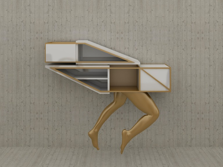 Vick Vanlian Kratos Man Leg Console | Courtesy Design Days Dubai
