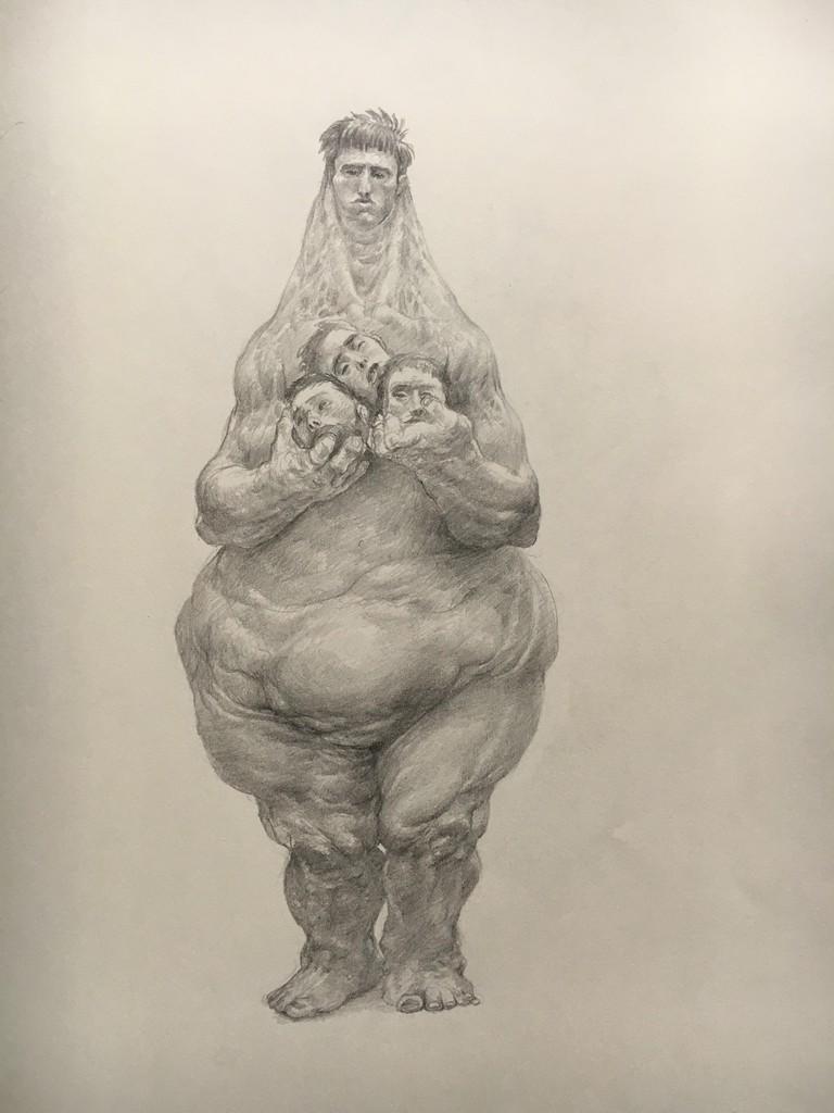 A drawing from the series Los Guardianes de los Hombres | Courtesy of Enric Sant