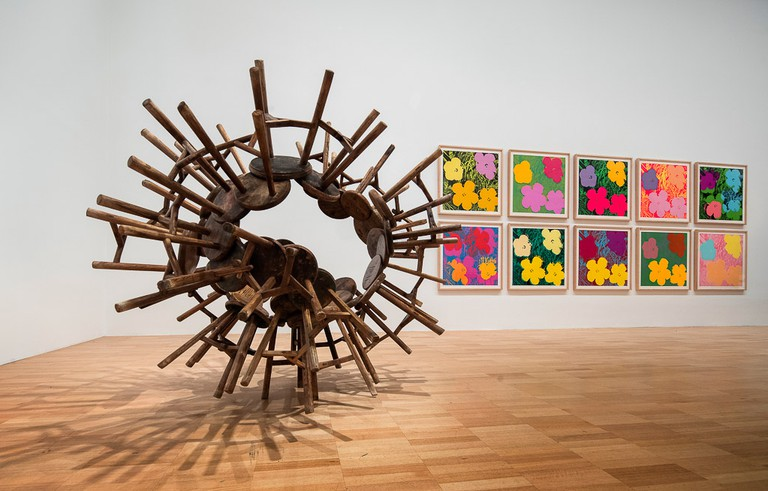 Installation view of the Andy Warhol | Ai Weiwei exhibition at the National Gallery of Victoria, 11 December 2015 – 24 April 2016. Andy Warhol artwork © 2015 The Andy Warhol Foundation for the Visual Arts, Inc./ARS, New York. Administered by Viscopy, Sydney; Ai Weiwei artwork © Ai Weiwei. Photo: John Gollings
