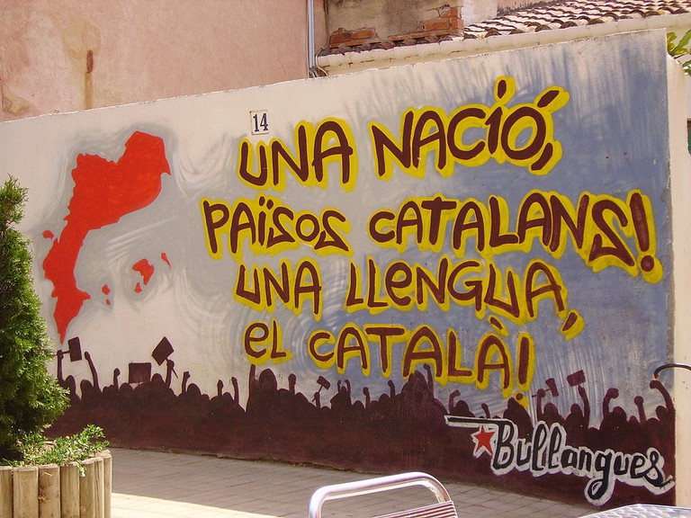 """One nation, the Catalan Countries. One language, Catalan"", mural in Vilassar 