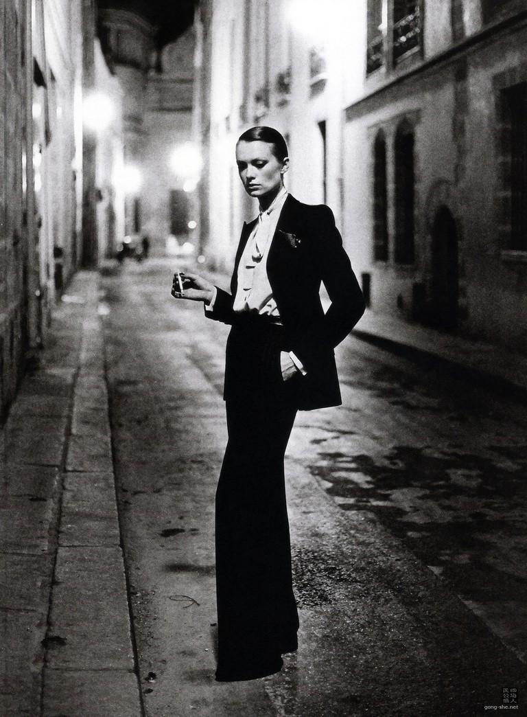 The 'Le Smoking' suit shot by Helmut Newton for Paris Vogue, 1975
