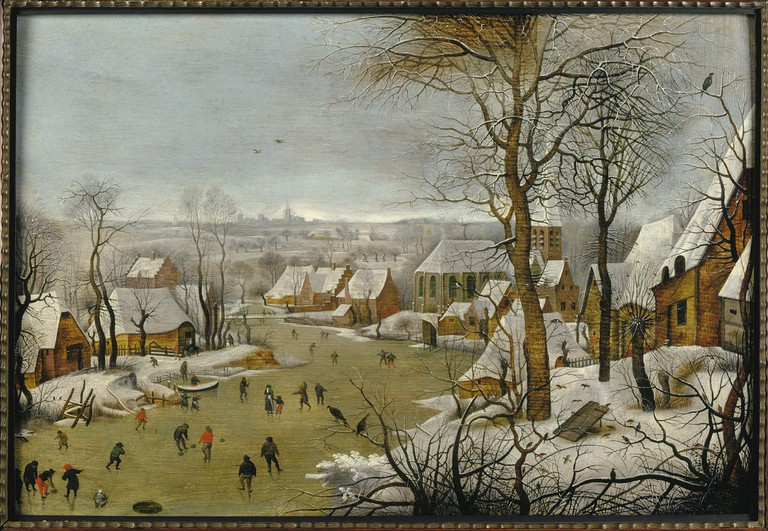 'Winter landscape with a bird trap', one of Breugel the Elder's famous landscapes depicting the cold at the time   Courtesy of Musea Brugge