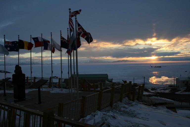 Flags in Antarctica