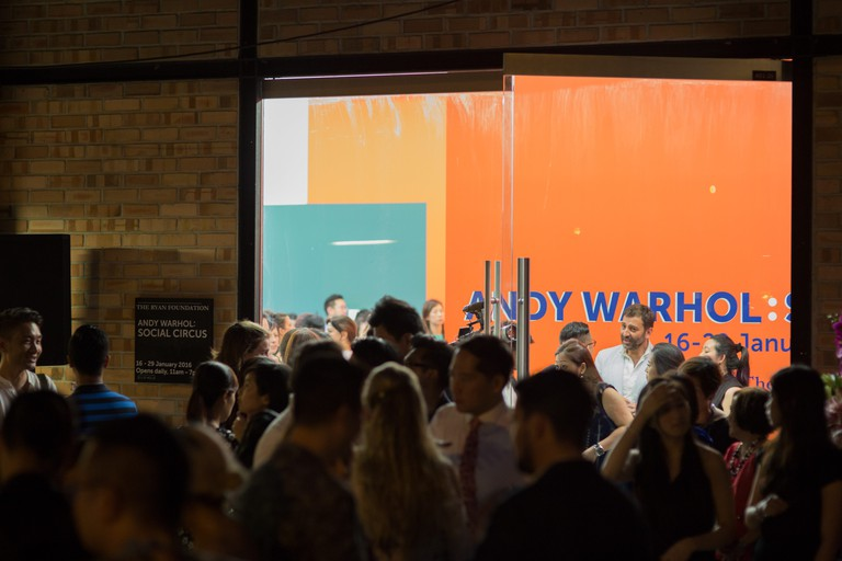 The crowd outside entrance of ANDY WARHOL: Social Circus on the opening night.