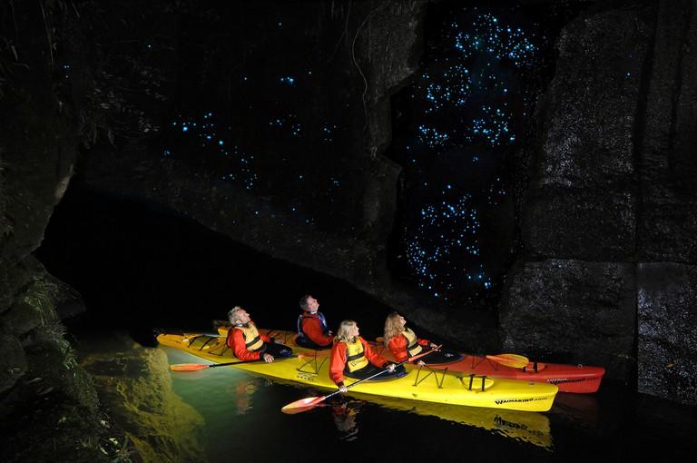 Lake McLaren, Tarunga, New Zealand. Glow worm caves