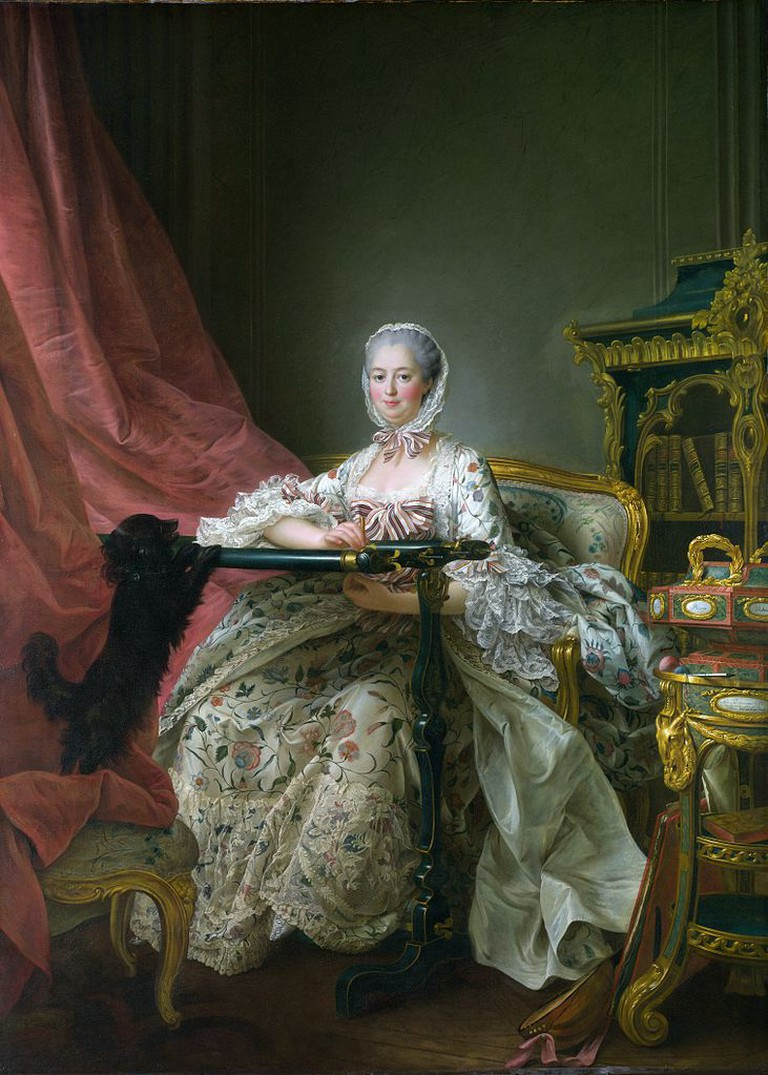 Figure 5, Portrait of Madame de Pompadour at her Tambour Frame by François-Hubert Drouais at the National Gallery, London, 1763-64