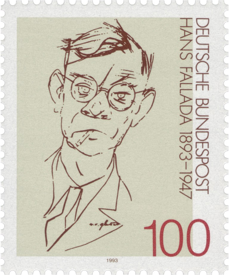 Portrait of Hans Fallada by Erich Ohser for a commemorative post stamp circa. 1993