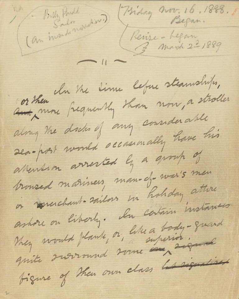 Opening leaf of the Billy Budd manuscript by Herman Melville with pencil notations