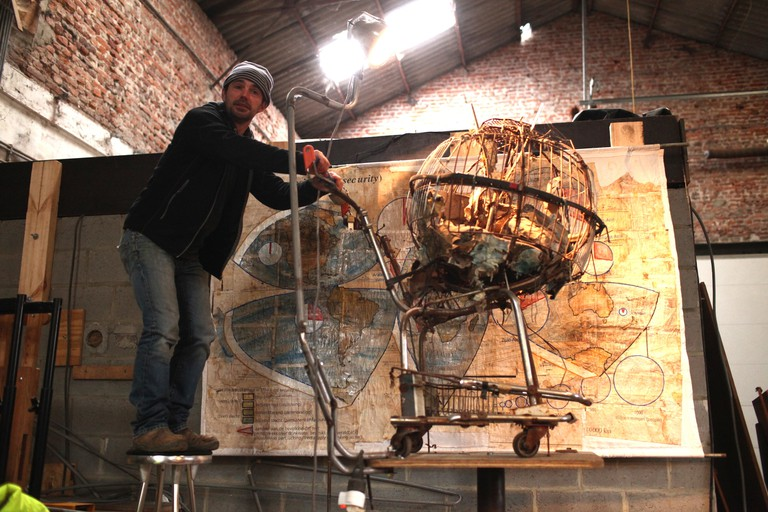 Bart Dewolf with 'The Food Security Map' installation/Courtesy Anuschka Theunissen