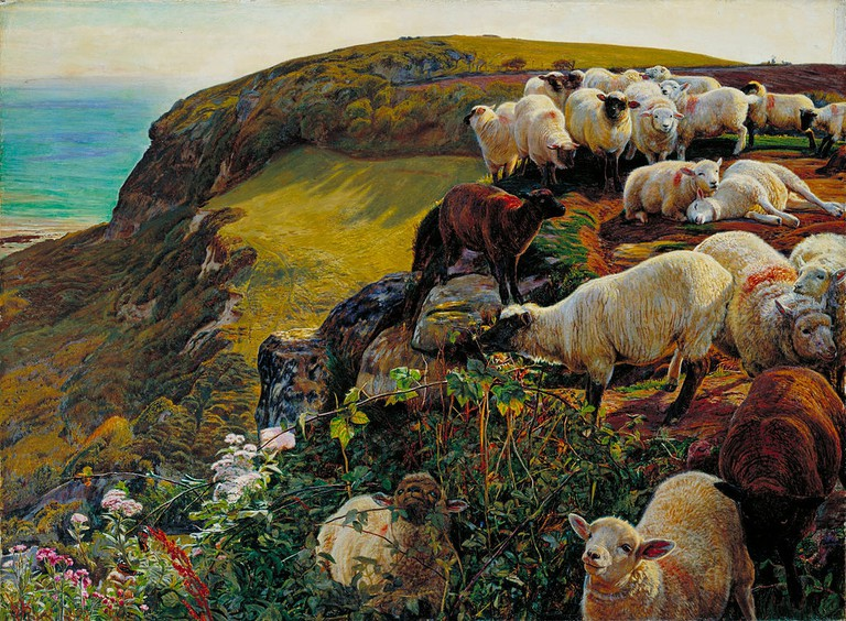 Holman Hunt, Our English Coasts, 1852 (Strayed Sheep), 432 x 584 mm, Tate Britain, 1852 | © DcoetzeeBot/WikiCommons