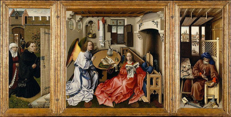 Robert Campin, Annunciation Triptych (Merode Altarpiece), 64.5 x 117.8 cm, The Metropolitan Museum of Art, c. 1427-32 | © DcoetzeeBot/WikiCommons