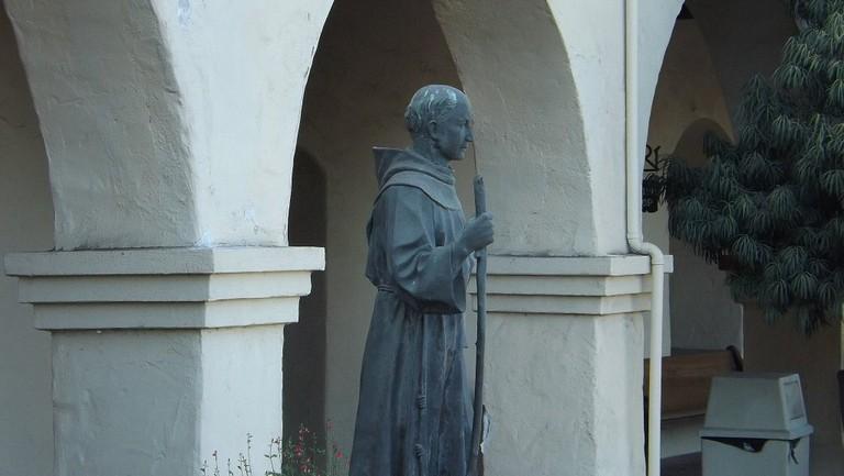 Junipero Serra statue at Mission Santa Ines